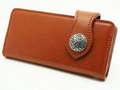 (WA-1004R)ヌメ革キャメルウォレット革長財布クロスコンチョ付