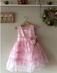 新品 女児ドレス ピンク 100 フラワー 結婚式お祝い