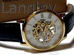 【箱付】新品 1スタ★Langley【スケルトン】美しいメンズ腕時計