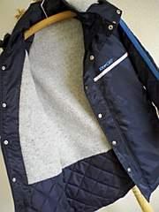 リーボック150cmベンチコート紺色光沢撥水