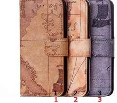 ★iPhone6/6S 地図型手帳型スタンド付きケースポーチ★BR