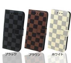 ★送料無料 iPhone7 / 7plus 手帳型 スタンド 格子ケース チェック