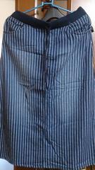 ウエストリブストライプ柄ストレッチスカート☆ブルー69-77