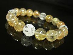 高級天然石数珠 素彫四神獣本水晶×タイチンルチルブレスレット