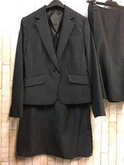 新品☆9号2種スカート付オフィススーツ黒ストライプ洗えるs504