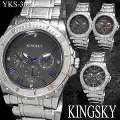 メンズ 腕時計 シルバー メタルバンド ウォッチ YKS-3001R