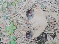 自作イラスト+花と少女