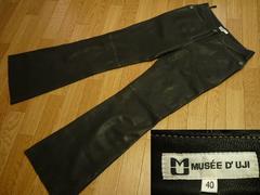 MUSEE D' UJIミューゼドウジ40羊革レザーパンツ黒フレア