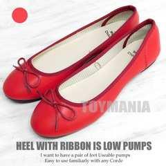 新品 リボン パンプス ローヒール レディース フラットシューズ ペタ靴 赤 L 24-25cm