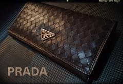 PRADA italy高級羊本革製イントレチャート編み込みレザー新品