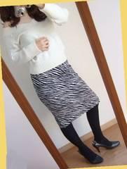 322新品★できる女のタイトスカート 膝丈 黒 白 ゼブラ柄