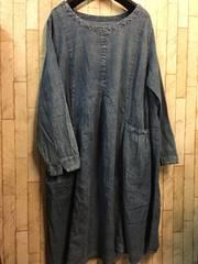 新品☆5Lサイズ綿100%薄手デニム風ワンピース☆n186