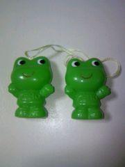 ■即決■KEROフィギュア2個セット■可愛いカエル緑蛙ケロ指人形ノベルティグッズ■