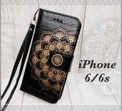 iPhone6/6s 手帳型ケース ストラップ +液晶フィルム 黒色
