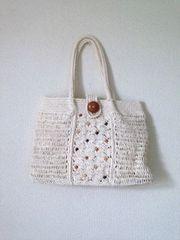 可愛い♪ホワイト ビーズ かぎ編み ショルダーバッグ かごバッグ