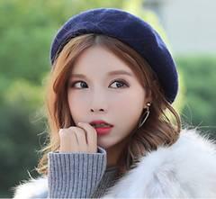 新品 帽子 ふわふわベレー帽 シンプル ネイビー色
