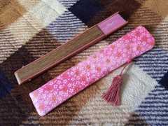 新品未使用京都土産桜柄舞妓ちりめん扇子ケース付和柄京小物