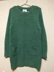 美品.ざっくりセーター.ロングセーター.グリーン.ざっくりニット