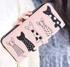 レディース 長財布 ロングウォレット 人気財布猫柄 ピンク