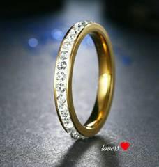 送料無料15号ゴールドスーパーCZダイヤフルエタニティリング指輪