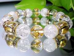 高級金彫七種梵字水晶・爆裂水晶・水晶12ミリ数珠AAA12ミリ