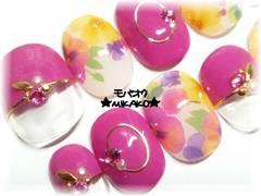 ★MIKAKO★パンジー花柄ボタニカルネイル・ショート(77)