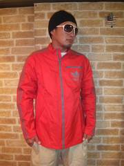 【adidas】デカロゴ防水仕様ナイロンジャケット赤×グレーO(L〜XL)♪