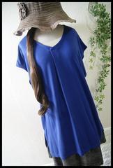 新品*夏ブルー/ゆるタックTシャツ/ゆったり*大きいサイズ*4L