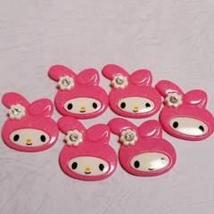 A ☆ 6コ ☆約3.8cm (ピンク) ラメ入り ストーン付き マイメロ フェイス デコパ