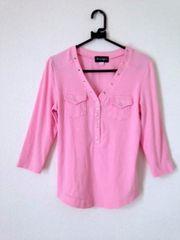 ラインストーン ピンク ストレッチ カットソー Tシャツ L