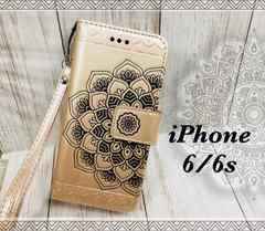 iPhone6/6s 手帳型ケース フラワー ストラップ    フィルム 金