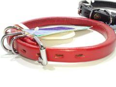 送205円皮革丸首輪RED#18赤高級34~39cm15kg20kg犬用レッド愛犬首輪