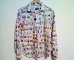 人気ポールスミス:復刻限定版国旗プリントシャツ(色⇒オフホワイト:Lサイズ)♪