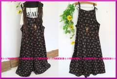 夏新作◆大きいサイズ4Lブラック×小花柄◆ストレッチオールインワン