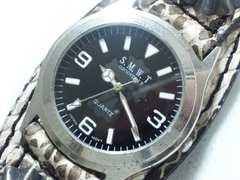 6041/S.M.W.Tレザー革ブレスレット型腕時計滅茶苦茶カッコイイ未使用品