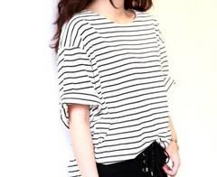 送料無料 ゆったり白黒ボーダーTシャツ ホワイト L