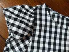 100スタ新品未使用タグなしジ-ユ-XLL半袖?チェック柄シャツGU黒×白ブラック