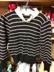 黒ボーダー襟付きセーターサイズM〜L