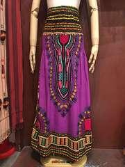 アフリカ民族衣装ダシキ柄ロングスカート★パープル★アジアン★