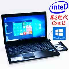 15.6型大画面 2世Core i5 Win10 無線 DVD書込 Webカメラ モデルG570