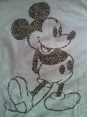 ディズニー ミッキーマウス ヒョウ柄 キラキラ デザイン 長袖 Tシャツ ホワイト ブラック Mサイズ