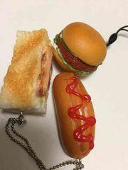 フードストラップカツサンド、ホットドッグ、ハンバーガー