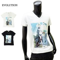 EVOLUTION  VネックTシャツ 白 M[1612] 半袖 メンズ