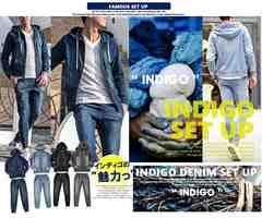 NEW『インディゴの魅力』デニム上下セットアップ4色M-XL