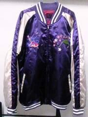 中綿入りスカジャン★サイズ5L★紫パープル色★富士山&金魚柄