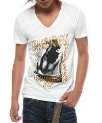 Vanquish(ヴァンキッシュ)コラボPHOTO VネックTシャツ/白L