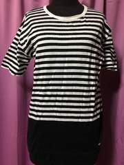 コムサ Tシャツ M 白黒ボーダー×ブラック
