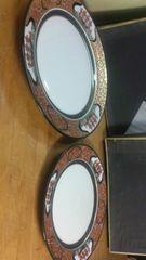 有田焼の、あまりにも美しい、南蛮船絵付けの皿。大小二枚未使用