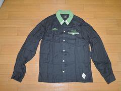 クライミーCRIMIEボーリングシャツM黒ステッチ刺繍レーヨン