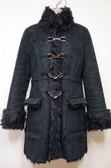 リエンダl内側,襟,袖口シャギーlムートン調lビット付きlコート/M